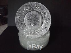 (10) Salad Luncheon Plates Pressed glass eapg Sandwich Kokomo Jenkins FIELDCREST