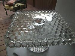 10 Square Cake Plate Platter Stand Rum Well Fostoria Glass Crystal AMERICAN
