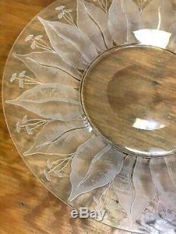 11 Dorflinger Kalana Lily Etched Crystal Dessert/ Side Plates 7.5 MINT