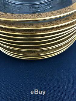 12 Antique Edwardian clear glass gold rimmed dessert plates 1900s 1910s