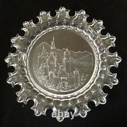 12 Hoffman Bohemian Czech glass intaglio cut crystal Cabinet Plate/Castle