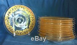12 Vintage SALVIATI Enamel Murano Italy Venetian Glass Gold Dessert Plates Set
