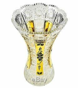 12H Crystal Cut Decorative Flower Vase, Gold-Plated Bud Vase, Wedding Gift