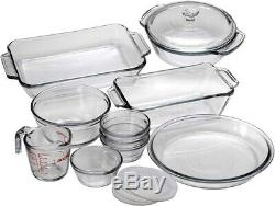 15 Piece Glass Baking Set w Dish, Pie Plate, Measuring Cup, Mixing Bowl, & More