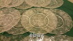 15 Vtg FOSTORIA Etched Crystal CHINTZ Baroque 7.5 Salad Dinner Glass Plate Set