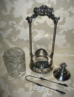 1800's Victorian Antique Hobstar Clear Glass Silver Plate Pickle / Olive Castor