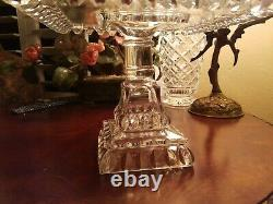 1890 Antique Cake Plate Stand Scalloped ELEGANT GLASS SQUARE EVENT HOLIDAY