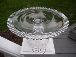 1890's Dalzell EAPG Crystal Glass Crimped Fenton-like PEDESTAL CAKE STAND Plate