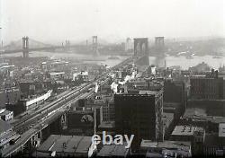 1910 NYC Brooklyn Bridge Original Glass Plate Photo Negative Crystal Clear