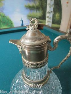 1920s Glass and Gilt Silver Plate Mounted decanter dolphin finial, 10 1/2 ORIGI