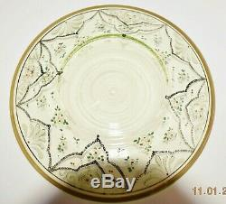 19th Century Moser green/clear/gold glass finger bowl and matching under plate w