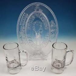 2 Knights of Labor Beer Mugs & Bread Plate EAPG Central Glass Bakewell Pears