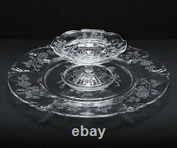 2 Piece Set HEISEY Crystal HEISEY ROSE Cheese and Cracker Plate withCheese Stand