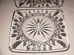 2 Waterford Crystal Lismore 8 Square Luncheon Plates