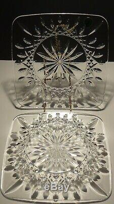 2 Waterford Crystal Lismore 8 Square Luncheon Plates Made In Ireland