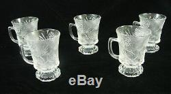 21 Vtg Tiara Glass Ponderosa Pine Bowl Pedestal Plates Serving Footed Mugs