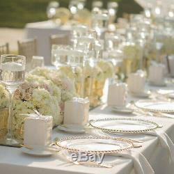 3 Design Glass Charger Plates Clear and Gold 33cm for Wedding Dinner Table Decor