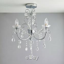 3 Light Chandelier Ceiling Fitting Semi Flush Crystal & Chrome Plate Led