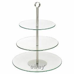 3 Tiered Glass Round Serving Display Cakes Platter Food Stand Wedding Plate NEW