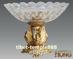 30 cm Western art deco bronze Gold Glass swan candies Plates tray dish salver