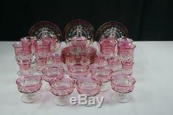 32 Pcs Vintage Tiffin Kings Crown Cranberry 4016 Set
