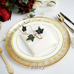 32 pcs 13 Clear with Gold Spray Rim Round Glass Charger Plates Wedding Supplies
