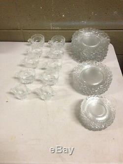 39pc Clear Glass Cambridge Caprice Cups Saucers Dinner Salad Plates Bowls (c41)
