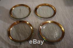4 / ANNIE GLASS Roman Antique 24K GOLD TRIM Glass 8 3/8 PLATES