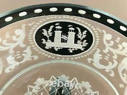 4 ATQ Egermann Bohemian Cut To Clear Etched Black Glass Dessert Plates 7 1/2'