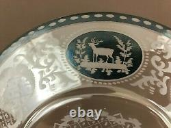 4 ATQ Egermann Bohemian Cut To Clear Etched Black Glass Luncheon Plates 9 7/8'