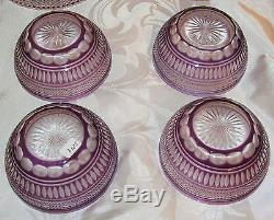 4 Antique Cut to Clear Art Glass Bowl with Under Plates