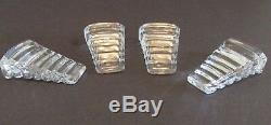 4 Baccarat RARE Crystal CALE Wedge RISERS Antique Soup Bowl Plate Supports Deco