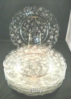 4 Vntg 40's Fostoria Chintz Etch 9 1/2 Dinner Plates! Baroque Glass Pattern