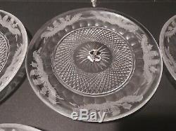 5 Edinburgh Thistle Crystal Plates Lot About 7 3/4 Please Read