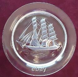 5 Lalique France Historic Sailing Ship Plates Intaglio Etched Glass