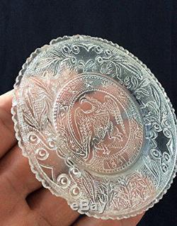6 Antique Sandwich glass lacy cup plates flint