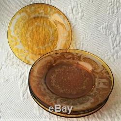 6 Bohemian Plates 8 Honey Amber Cut to Clear Deer Castle Antique