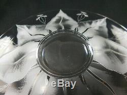 6 Dorflinger Kalana Lily Acid Etched Blown Glass Finger Bowl Under Plates 6-5/8