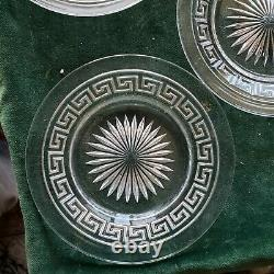 6 Heisey Greek Key Clear Salad Plates