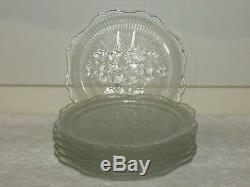 6 Rare Jeannette Glass Crystal Iris And Herringbone 8 Luncheon Plates