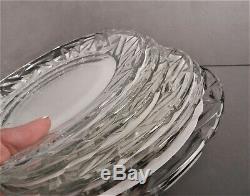 6 Tiffany & Co Rock Cut Crystal Plates, 8 Unused Wedding Gift, Ex, Clean Condition