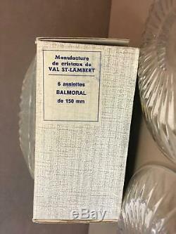6 Vintage 5.75 Val St Lambert Side Plates Lead Crystal Signed Balmoral Iob