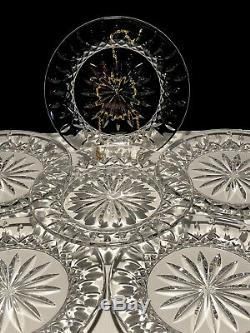 6 Waterford Crystal Lismore 8 Round Luncheon Plates Made In Ireland