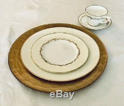 8 (Eight) 24k Gold and Hammered Glass Charger Plates 13.25