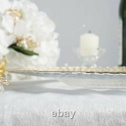 (8 Pack) 13 Round Clear Glass Charger Plates with Silver and Gold Braided Rim