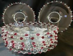 8 Rare Art Deco Czech Candlewick Red and Clear Beaded Edging 10.5 Plates