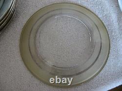 8 Rare MCM Dorothy Thorpe 3 Silver Banded Salad/dessert Plates Signed