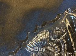 9 EAPG Higbee PANELED THISTLE Footed Pressed Glass Plate Shallow Bowl Set 5