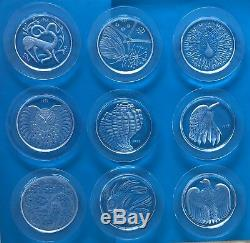 9 LALIQUE Annual Plates 1968-1976 Signed Excellent Condition