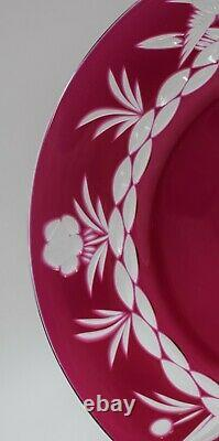 9 Val St. Lambert Cranberry Cut to Clear Engraved Glass Plates